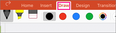 Shows the Draw tab in PowerPoint for iPad