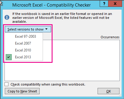 Specify which Excel versions to check for compatibility with