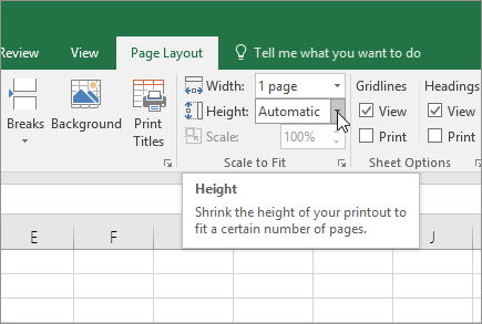 Microsoft Excel - Scale a worksheet to fit a printed page