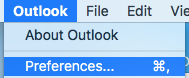 Showing Outlook preferences