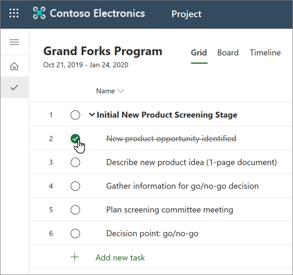 The Grid view in Planner, with a completed task selected
