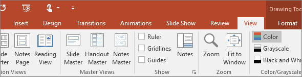Shows the view tab on the ribbon in PowerPoint