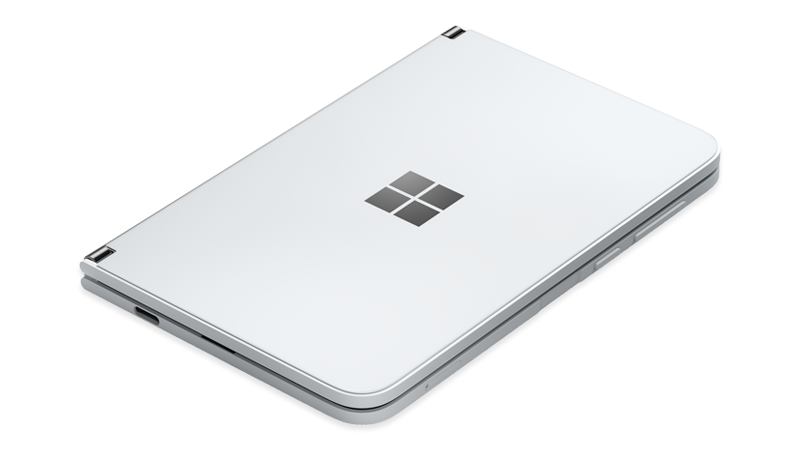 Surface Duo closed with Power button on the right