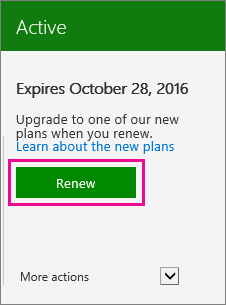 Screenshot of a subscription card with the Renew button highlighted