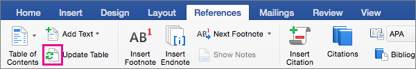 Click Update Table on the References tab to update a document's table of contents.