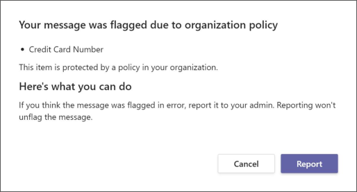 A dialog explaining why a message was flagged by an organization's data loss prevention policy
