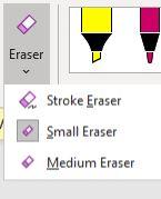 Eraser drop down list with three choices