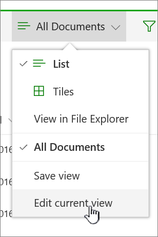 View options menu with edit current view highlighted