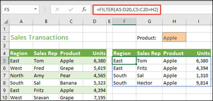 FILTER function in Excel for the web
