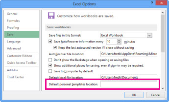 Options you can set for saving workbooks
