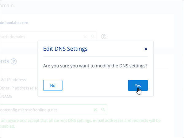 Clicking Yes in the Edit DNS Settings dialog box