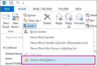 The Junk menu in Outlook 2013