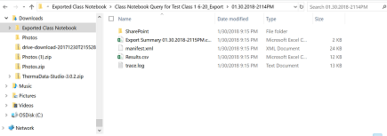 exported class notebook file location