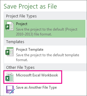 Save Project file as Microsoft Excel workbook