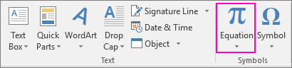 The Equation option is highlighted on the Insert tab