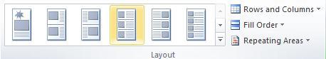 Catalog merge layout options