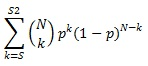 BINOM.DIST.RANGE equation