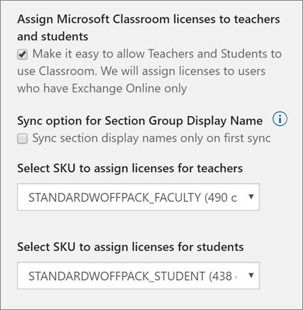 Screenshot of SKU and license selection for new users in School Data Sync