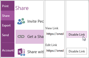 Enable or disable a sharing link