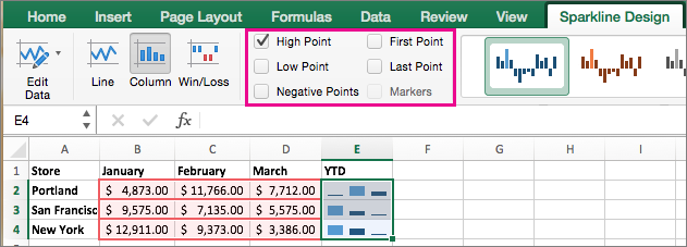 create sparklines in excel 2016 for mac