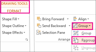 Regroup button on the Drawing Tools Format tab