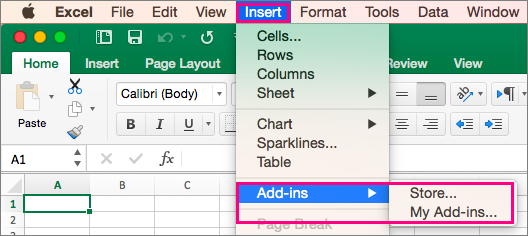Shows the Insert > Add-Ins flow in Office 2016 for Mac.