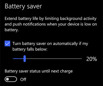 Image of battery saver settings