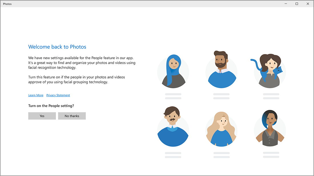 Screenshot of the Welcome back to Photos screen.