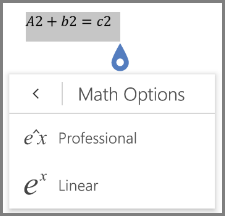 Showing math equation formats