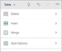 Windows phone Table tab