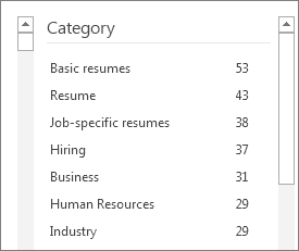 Resume template categories