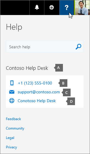 Screenshot of a help desk card with customized contact information