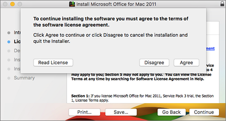 Screenshot of window to accept the software license agreement