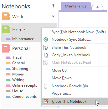 Screenshot of how to close a notebook in OneNote 2016.