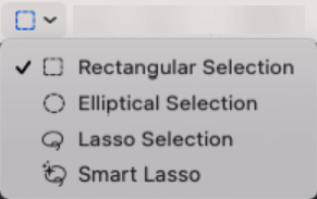 The Selection Tools menu in the Preview app.