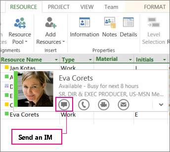 Contact people with Lync