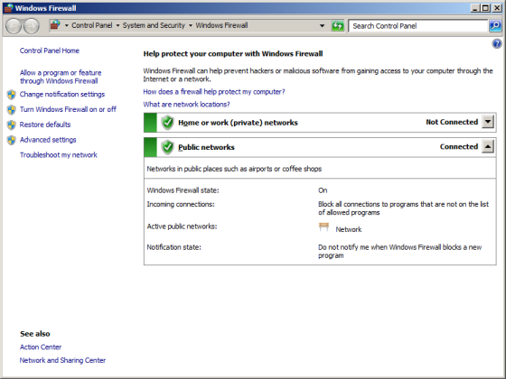 In the navigation pane (left pane) of Control Panel, click Turn Windows Firewall on or off.