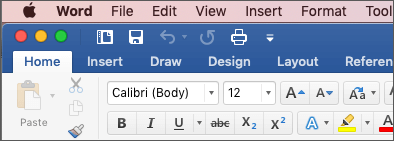 The ribbon in Word for Mac in Colorful theme