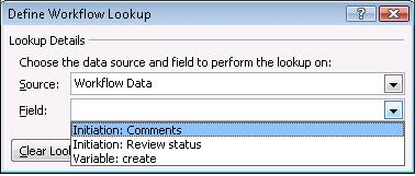 initiation form fields in define workflow lookup