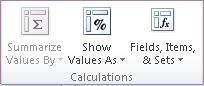 PivotTable Tools: The Calculations group on the Options tab