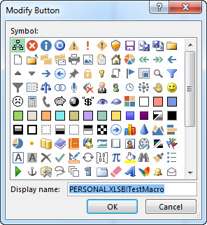 Modify Button dialog box