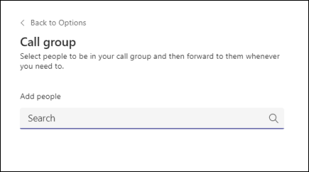 Teams-add people to call group screen