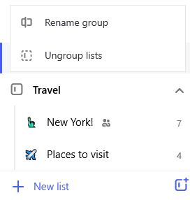 Screenshot of the Travel list group and edit menu open with option to Rename group and Ungroup lists