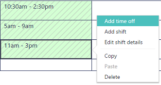 Add time off option on Microsoft StaffHub scheduling page