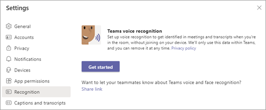 Select Recognition on the left and Get started on the right