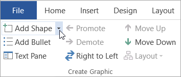 The Add Shape button in the Create Graphic group