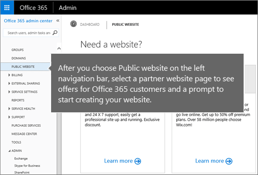 In Office 365 choose Public website