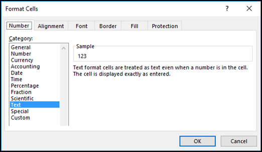 Format Cells dialog box displaying the Number tab and Text option selected