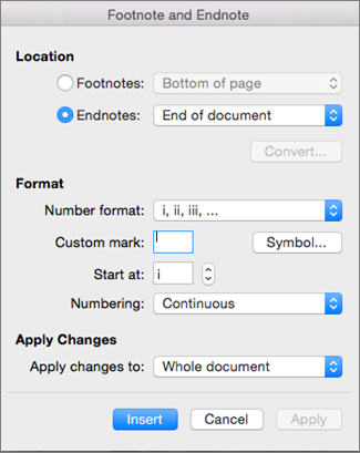 Add footnotes and endnotes in word for mac word for mac footnote and endnote box ccuart Image collections