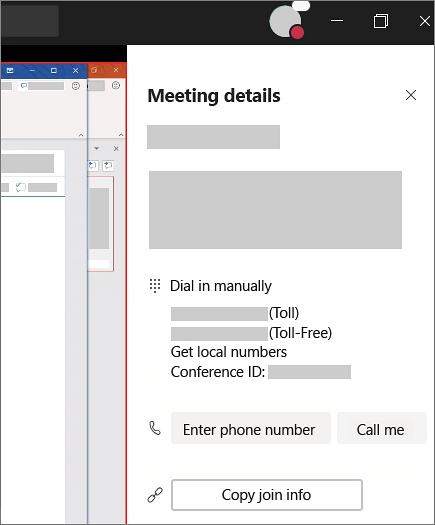 In the meeting details, you'll find dial-in numbers and an area you can enter your phone number and have Teams call you.